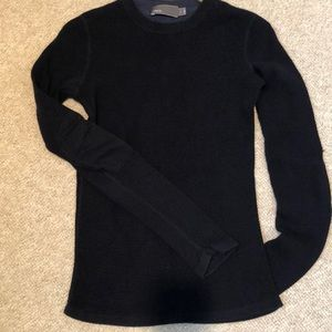 Vince waffle knit thermal shirt w/ elbow patches
